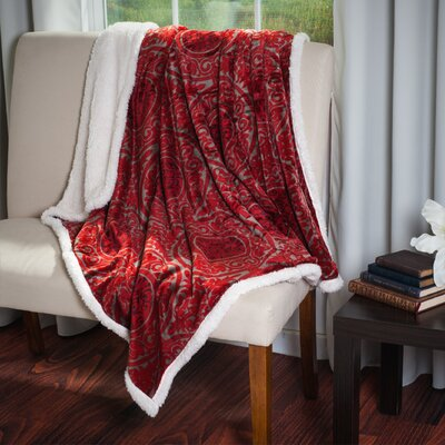 Printed Throw Blanket Color: Red