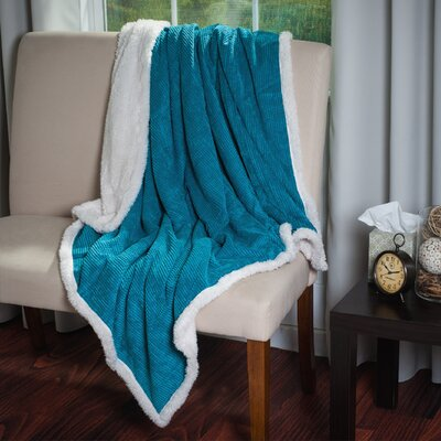 Plush Corduroy Sherpa Throw Blanket Color: Blue