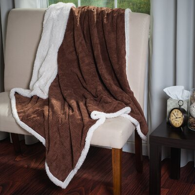 Plush Corduroy Sherpa Throw Blanket Color: Brown