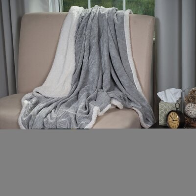 Plush Corduroy Sherpa Throw Blanket Color: Grey