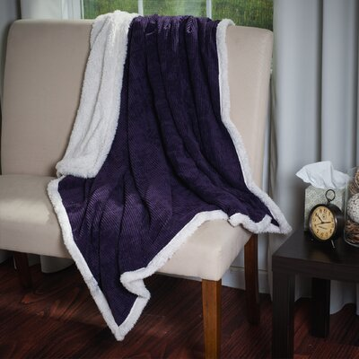 Plush Corduroy Sherpa Throw Blanket Color: Purple