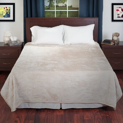 Thick Plush Mink Blanket Color: Beige