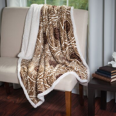 Printed Throw Blanket Color: Brown