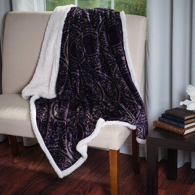 Printed Throw Blanket Color: Purple