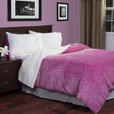 Floral Etched Blanket Color: Pink, Size: King