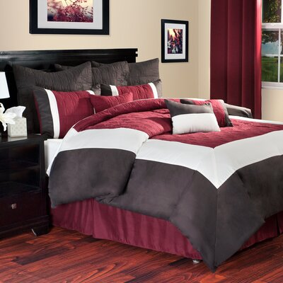 Hotel Comforter Set Size: King, Color: Burgundy