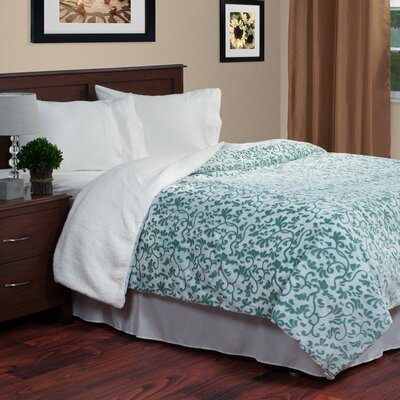 Botanical Etched Blanket Color: Green, Size: King