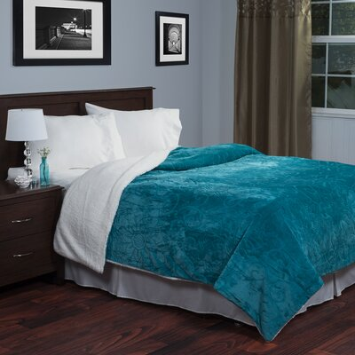 Floral Etched Blanket Size: Twin, Color: Teal