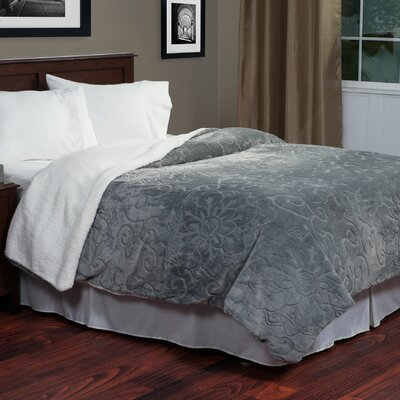 Floral Etched Blanket Size: Twin, Color: Grey