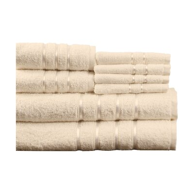 100% Egyptian-Quality Cotton Plush 8 Piece Towel Set Color: Bone