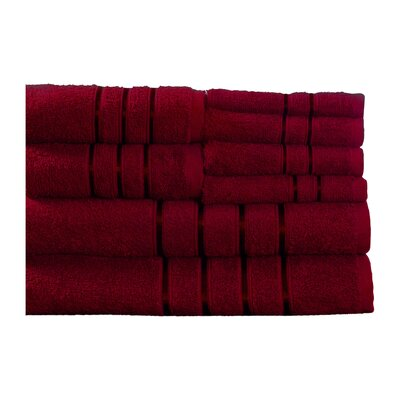 100% Egyptian-Quality Cotton Plush 8 Piece Towel Set Color: Burgundy