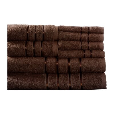 100% Egyptian-Quality Cotton Plush 8 Piece Towel Set Color: Chocolate