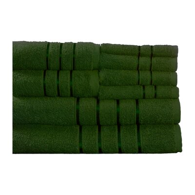 100% Egyptian-Quality Cotton Plush 8 Piece Towel Set Color: Green
