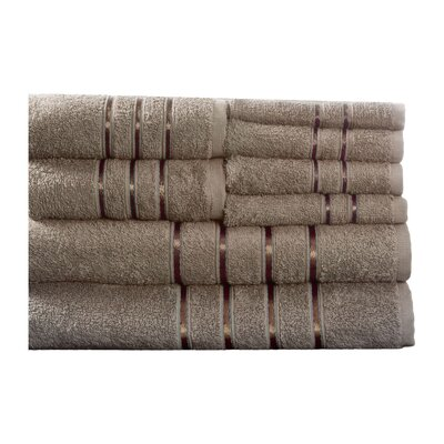100% Egyptian-Quality Cotton Plush 8 Piece Towel Set Color: Taupe