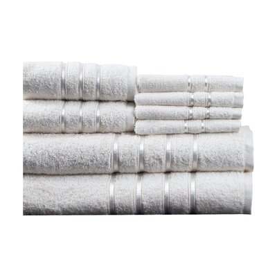 100% Egyptian-Quality Cotton Plush 8 Piece Towel Set Color: White