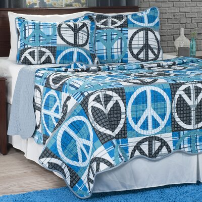 Peace Quilt Set Size: Full/Queen, Color: Gray