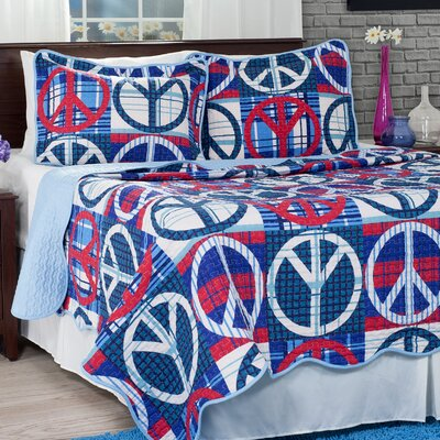 Peace Quilt Set Size: Full/Queen, Color: Blue