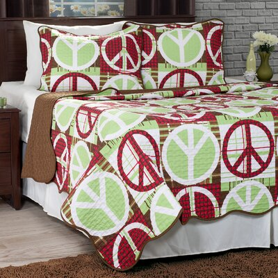 Peace Quilt Set Size: Full/Queen, Color: Brown / Red