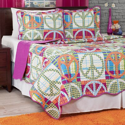 Peace Quilt Set Size: King, Color: Pink