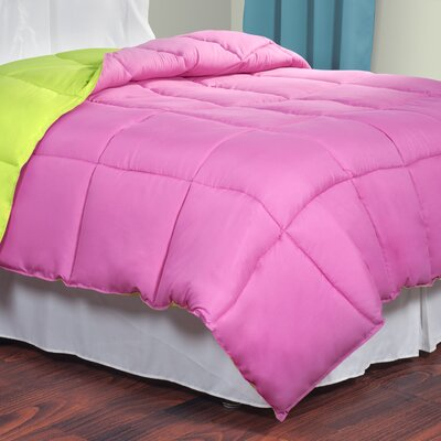 All Season Down Alternative Comforter Size: King, Color: Pink / Lime