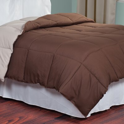 All Season Down Alternative Comforter Color: Chocolate / Taupe, Size: Twin