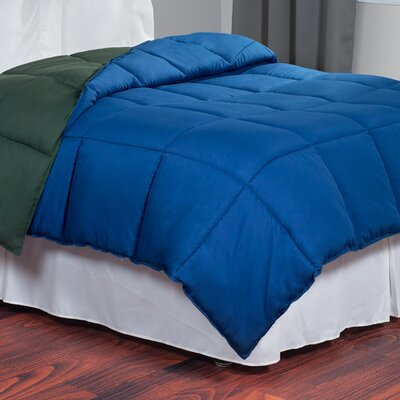 All Season Down Alternative Comforter Color: Navy / Green, Size: King