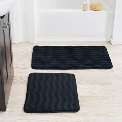 2 Piece Memory Foam Bath Mat Set Color: Black