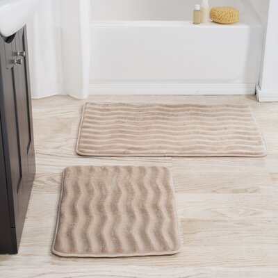 2 Piece Memory Foam Bath Mat Set Color: Taupe