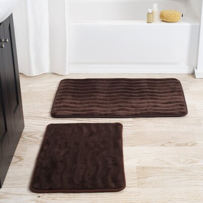 2 Piece Memory Foam Bath Mat Set Color: Chocolate