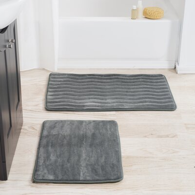 2 Piece Memory Foam Bath Mat Set Color: Platinum