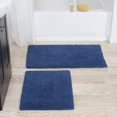 2 Piece Reversible Bath Rug Set Color: Navy