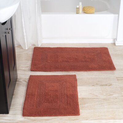 2 Piece Reversible Bath Rug Set Color: Brick
