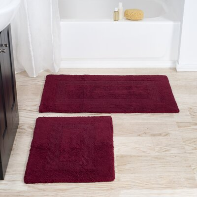 2 Piece Reversible Bath Rug Set Color: Burgundy