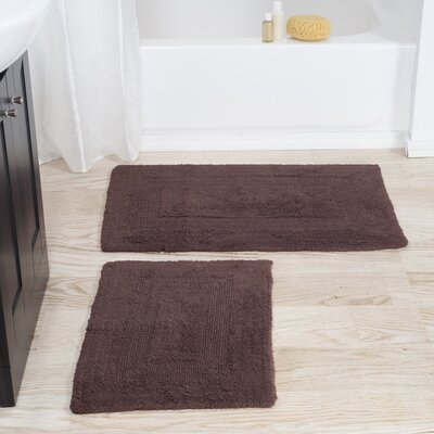 2 Piece Reversible Bath Rug Set Color: Chocolate