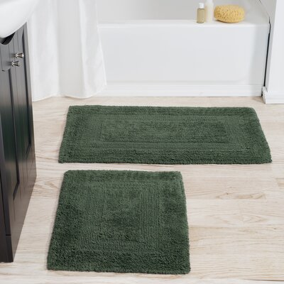 2 Piece Reversible Bath Rug Set Color: Green