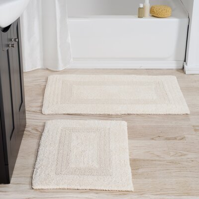 2 Piece Reversible Bath Rug Set Color: Ivory