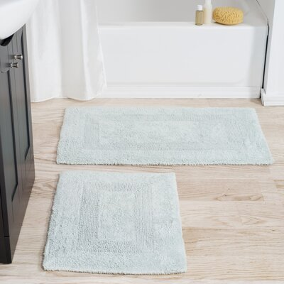 2 Piece Reversible Bath Rug Set Color: Seafoam