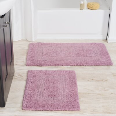2 Piece Reversible Bath Rug Set Color: Rose