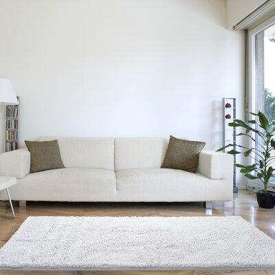 High Pile White Area Rug Rug Size: 19 x 3