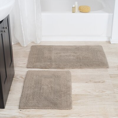 2 Piece Reversible Bath Rug Set Color: Taupe