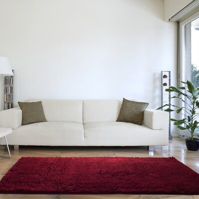 Gaumer High Pile Shag Burgundy Area Rug
