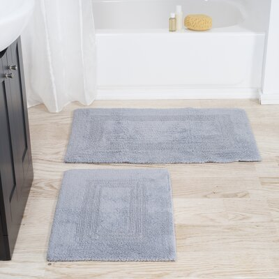 2 Piece Reversible Bath Rug Set Color: Silver