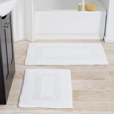 2 Piece Reversible Bath Rug Set Color: White