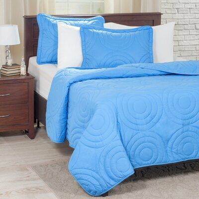 Embossed Quilt Set Color: Blue, Size: King