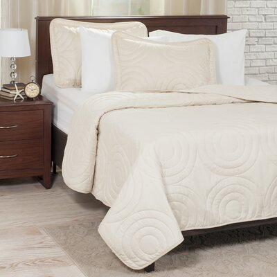 Embossed Quilt Set Color: Ivory, Size: King