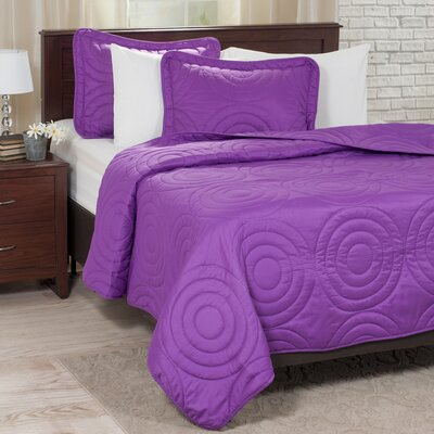Embossed Quilt Set Color: Purple, Size: King