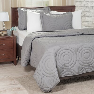 Embossed Quilt Set Color: Silver, Size: King