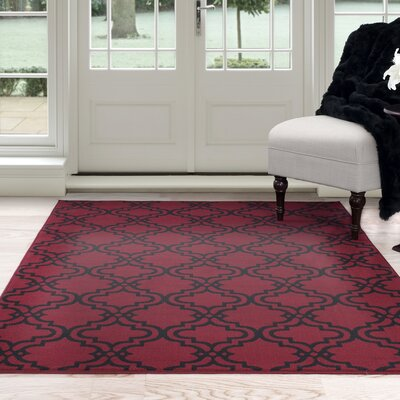 Double Lattice Red Area Rug Rug Size: Rectangle 33 x 5