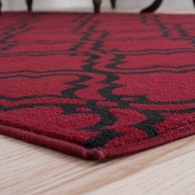 Double Lattice Red Area Rug Rug Size: Runner 18 x 5