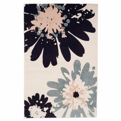 Flower Ivory Area Rug Rug Size: Rectangle 5 x 76